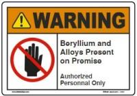 custom beryllium warning sign