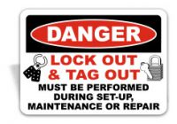 A danger lock out and tag out sign