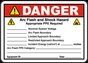 danger arc flash and shock hazard label