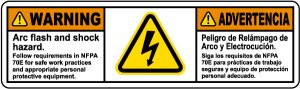 bilingual arc flash and shock hazard label