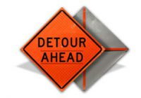 Detour Ahead Roll Up Sign