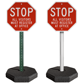 30 lb. Portable Sign Stand with 5' PVC or 6' U-Channel Post