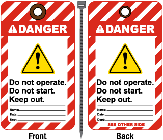 Danger Do Not Start Keep Out Tag