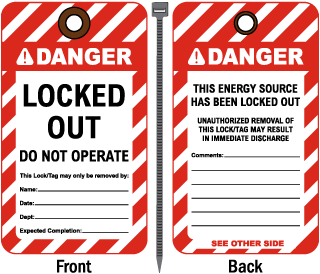 Locked Out Do Not Operate Tag