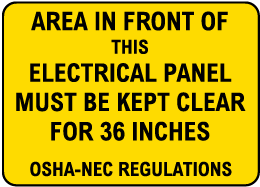 Keep Area Clear for 36 inches Label