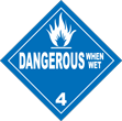 Dangerous When Wet Class 4 Placard
