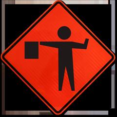 Flagger Ahead Symbol Sign
