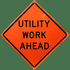 Utility Work Ahead Sign