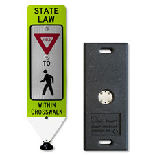 Yield To Pedestrians In-Street Sign with Portable Base