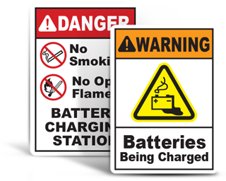 Battery Charging Area Signs