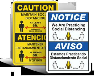 Bilingual Social Distancing Signs
