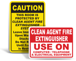 Clean Agent Fire Suppression Signs