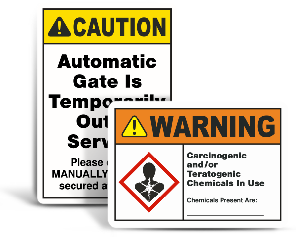 Custom ANSI-OSHA Safety Signs