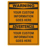 Custom OSHA 1996 Bilingual Signs