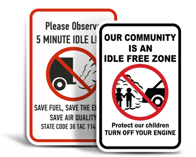 Custom No Idle Signs