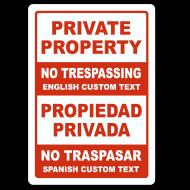 Custom Bilingual Private Property Signs