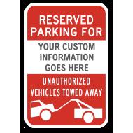 Custom Reserved Parking For Sign