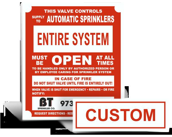 Custom Sprinkler System Signs