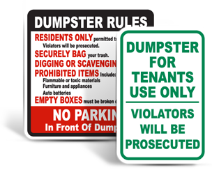 Private Dumpster Signs