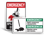Emergency Spill Response Signs