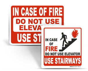 In Case of Fire Use Stairs Signs