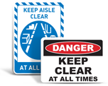 Keep Area Clear Signs