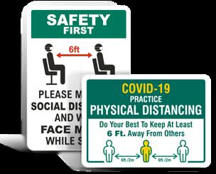 Medical Facility Social Distancing Signs