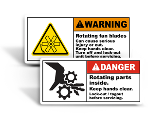Moving Parts Lockout Labels