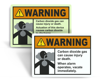 NFPA 12 CO2 Fire Extinguisher Signs