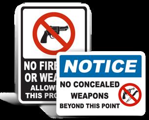 Gun Free Zone Signs