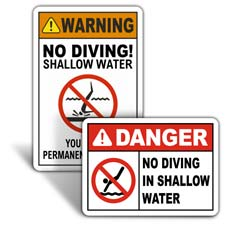 No Diving Signs