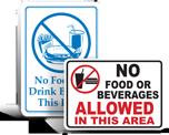 No Food Or Drink Signs