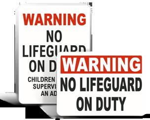 No Lifeguard Signs
