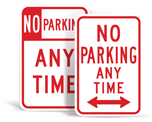 No Parking Any Time Signs