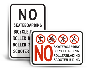 No Skateboarding Signs