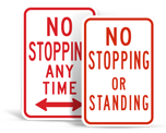 No Stopping or Standing Signs