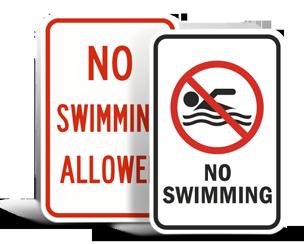 No Swimming Signs
