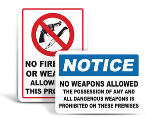 No Firearms Allowed Signs
