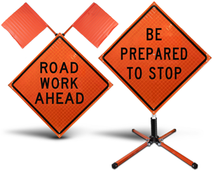 Roll Up Road Work Signs