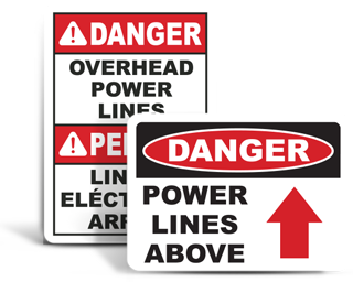 Overhead Power Lines Signs