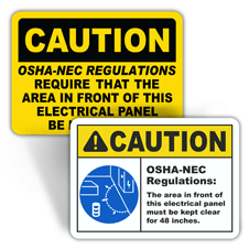 Caution Electrical Panel Signs