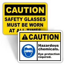Caution Eye Protection Labels