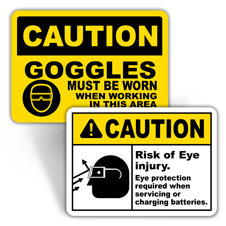 Caution Eye Protection Signs