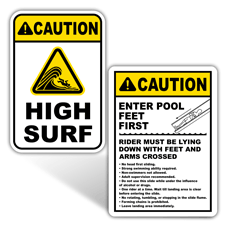 Caution Swimming Pool and Beach Signs