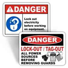 Danger Lockout Tagout Signs