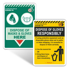 Gloves and Masks Disposal Signs