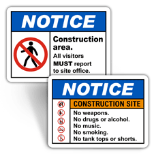 Notice Construction Site Signs