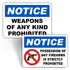 Notice No Weapons Signs