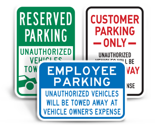 Basic Reserved Parking Signs