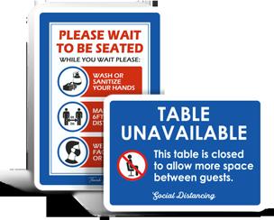 Restaurant Social Distancing Signs